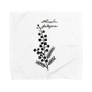 植物図鑑シリーズ…ミモザ Towel handkerchiefs