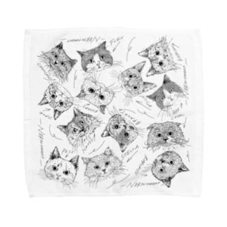 同窓会4+5:2の猫さんハンカチ Towel handkerchiefs