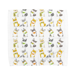 招きコーギー Towel handkerchiefs