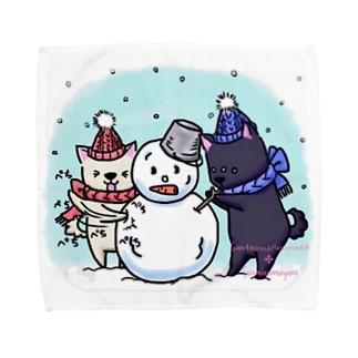 そらいろもようの雪だるま! Towel handkerchiefs