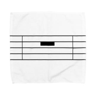 全休符(黒字) Towel handkerchiefs