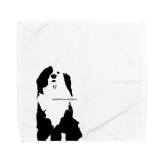 片パンダのボーダーコリーMIX Towel handkerchiefs