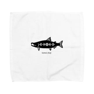 鮭   アイヌ模様 Towel handkerchiefs