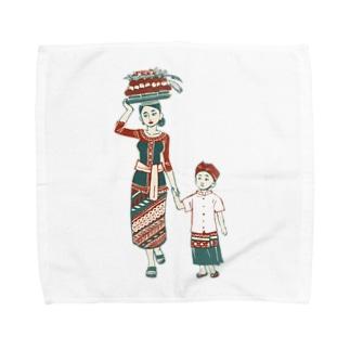 【バリの人々】お母さんと子供 Towel handkerchiefs