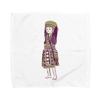【タイの人々】モン族の女の子 Towel handkerchiefs