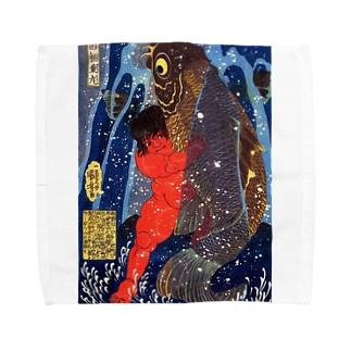 歌川国芳『 坂田怪童丸 』(金太郎) Towel handkerchiefs