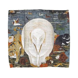 伊藤若冲『 樹花鳥獣図屏風 』(右隻) Towel handkerchiefs