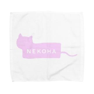 猫派ボックスロゴ風 Towel handkerchiefs