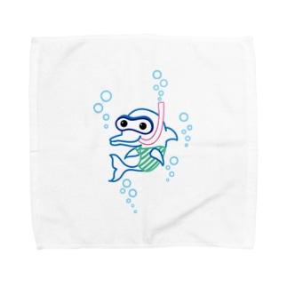 スノーケルするイルカ♪ Towel handkerchiefs