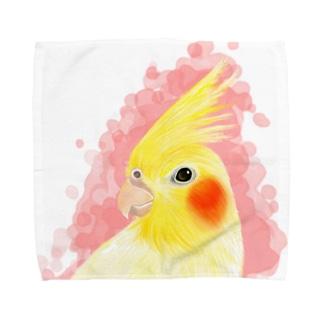 ほんわかオカメインコ ルチノー【まめるりはことり】 Towel handkerchiefs