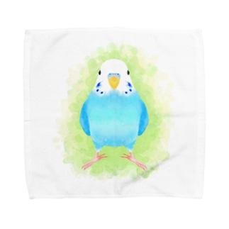 ほんわかセキセイインコ ブルー【まめるりはことり】 Towel handkerchiefs