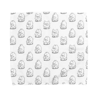 エンドレスくまうさ(白) Towel handkerchiefs