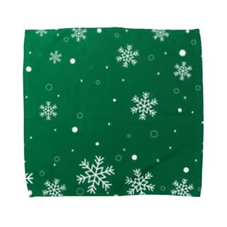 緑色の雪の結晶 Towel handkerchiefs