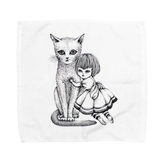 ArtSpringsの猫と少女 Towel handkerchiefs