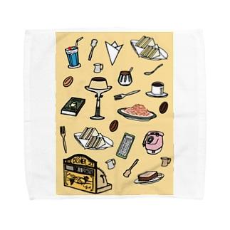 純喫茶 いろどり 背景つき Towel handkerchiefs