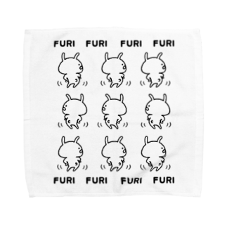chococo_yuruusagiのゆるうさぎ ふりふり白 Towel handkerchiefs