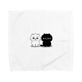 くろねこ一家(2人整列) Towel handkerchiefs