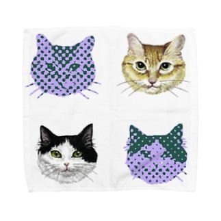猫柄 Towel handkerchiefs