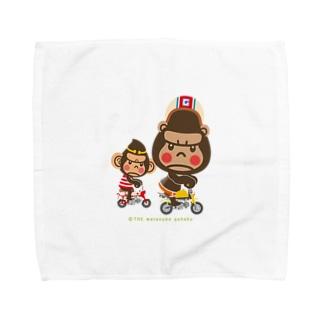 """ぽっこりゴリラ""""Motor cycle -  gorilla & monkey"""" Towel handkerchiefs"""