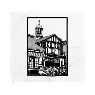 ありがとう原宿駅(切り絵風・枠付) Towel handkerchiefs