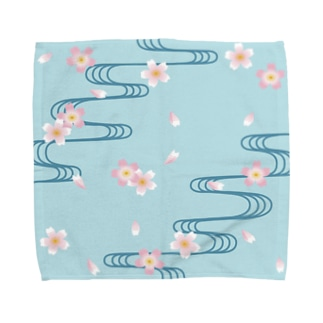 桜-流水文様 Sakura and Running water Towel handkerchiefs