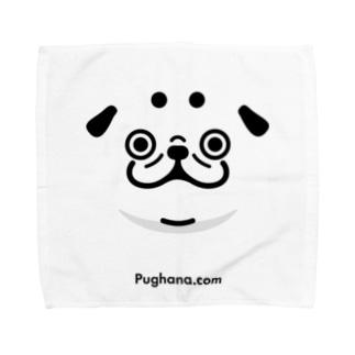 シルエットパグ(URL)淡色用 Towel handkerchiefs