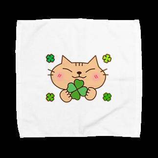 eigoyaのクローバーと茶トラ猫 Towel handkerchiefs