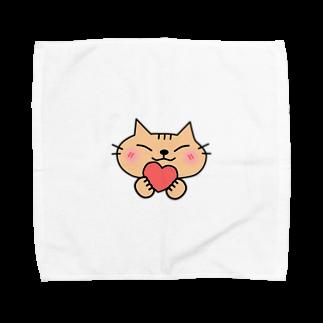 eigoyaのハートと茶トラ猫 Towel handkerchiefs