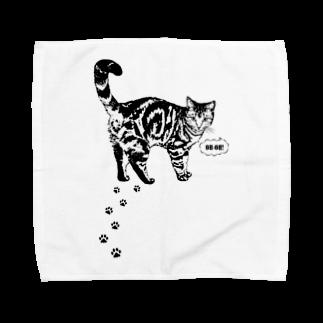 猫と釣り人のCAT_13_1W Towel handkerchiefs