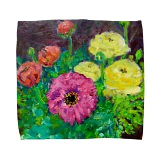 油彩-花-(横) Towel handkerchiefs