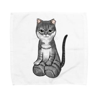 [チャリティ]正座猫_夢 Towel handkerchiefs