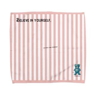 【Believe in yourself.】(青くま) Lサイズ Towel handkerchiefs