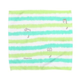 にゃーちゃ、茶畑ボーダー Towel handkerchiefs