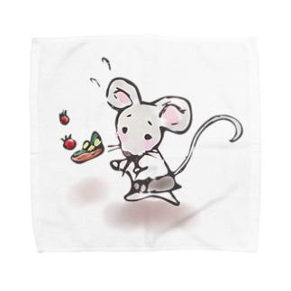 あかえほ│赤ちゃん絵本のWeb図書館 公式グッズ販売のねことねずみの喫茶店【あかえほ公式】 Towel handkerchiefs