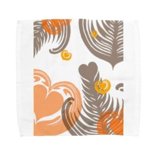【ラテアート】レイヤーラテアート/オレンジブラウン Towel handkerchiefs