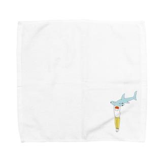 シュモクザメブルー Towel handkerchiefs