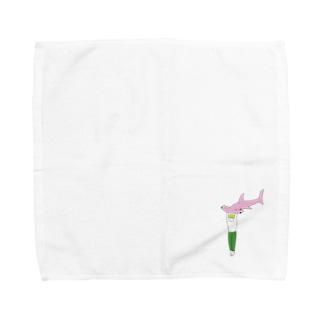 シュモクザメピンク Towel handkerchiefs