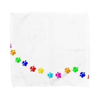 ハートの肉球あしあと(カラフル) Towel handkerchiefs