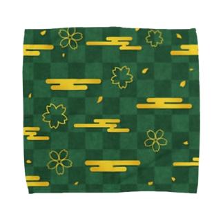 緑色な市松模様と金色の桜と雲 Towel handkerchiefs