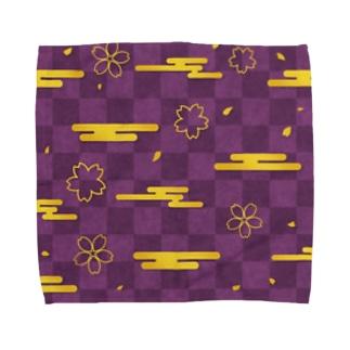 紫色な市松模様と金色の桜と雲 Towel handkerchiefs