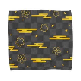 黒色な市松模様と金色の桜と雲 Towel handkerchiefs