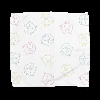 こぶたのカラフルこぶた大量 Towel handkerchiefs