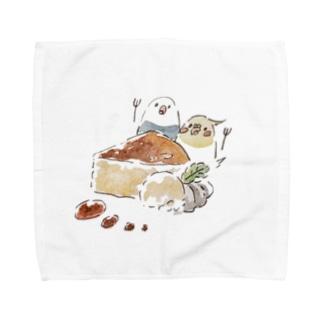 オカメインコとボタンインコのチーズケーキ Towel handkerchiefs
