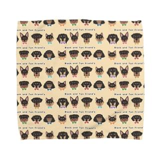Black and Tan Friend's(総柄2) Towel handkerchiefs