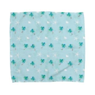 ヤシの木と白い貝 Towel handkerchiefs