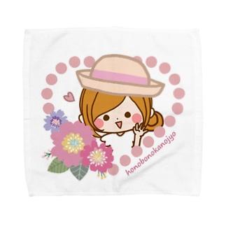 お花とハート Towel handkerchiefs