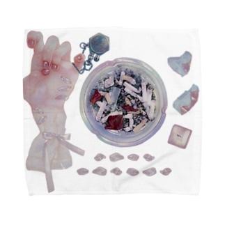 おりぼんちゃんと灰皿とチョコ Towel handkerchiefs