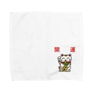 開運招き猫「にゃん吉」 Towel handkerchiefs