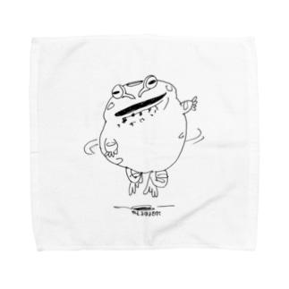 かえるはるきのこの踊るチャコガエル Towel handkerchiefs