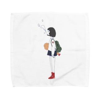 しゃけ丸のエビフライもってる女の子ver.つー Towel handkerchiefs